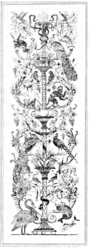 Detailed design showing an ornate pillar surrounded by birds, animals and mythical creatures