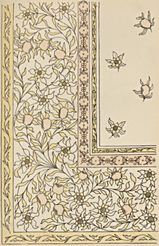 Corner of the design with a wide floral border and scattered floral motifs in the center