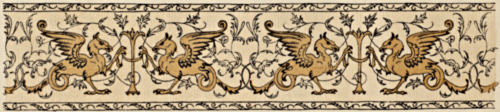 Repeating design featuring a variation on a gryphon